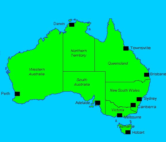 australia major cities map
