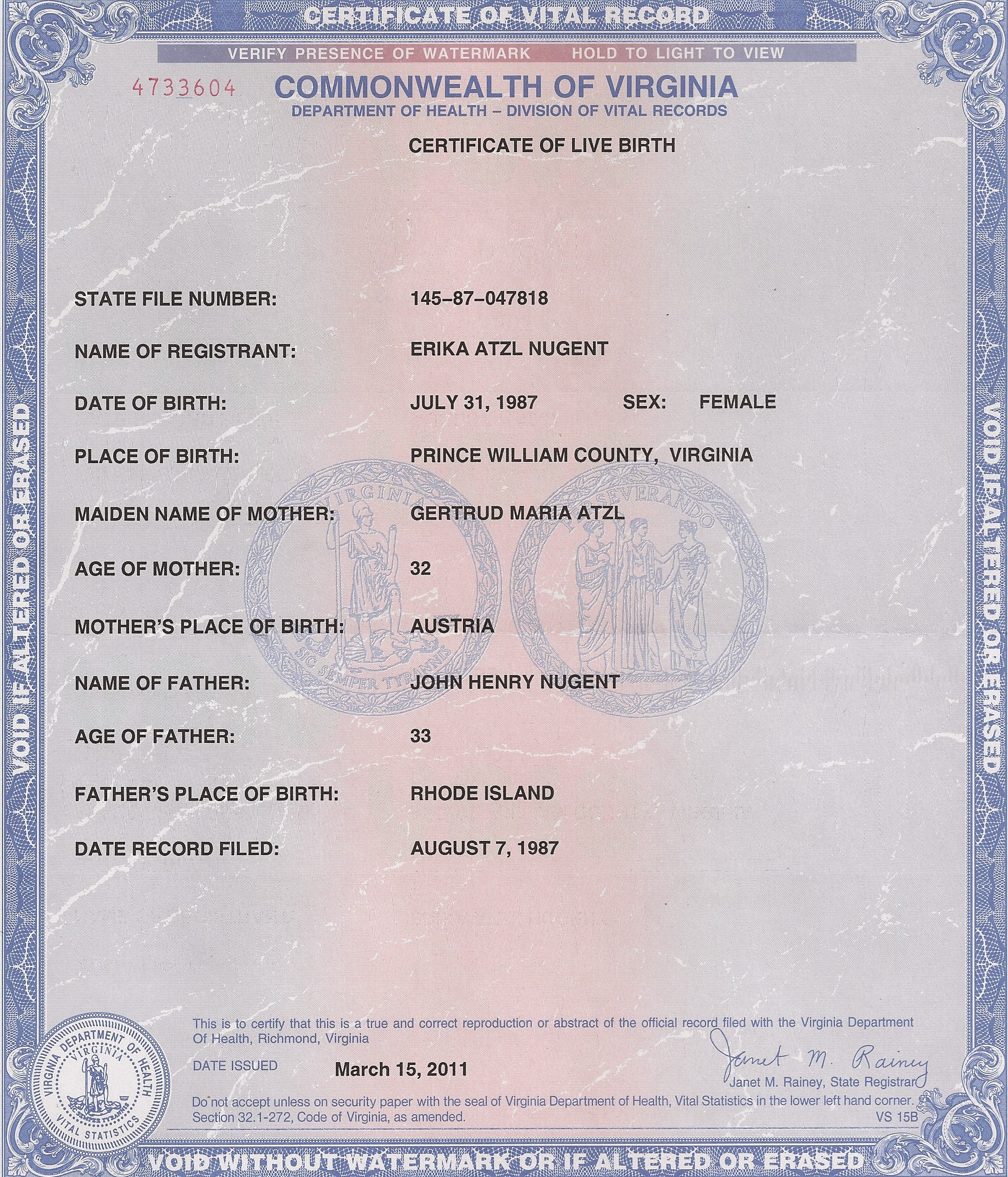 California Divorce Records: Erika-atzl-nugent-va-birth-certificate