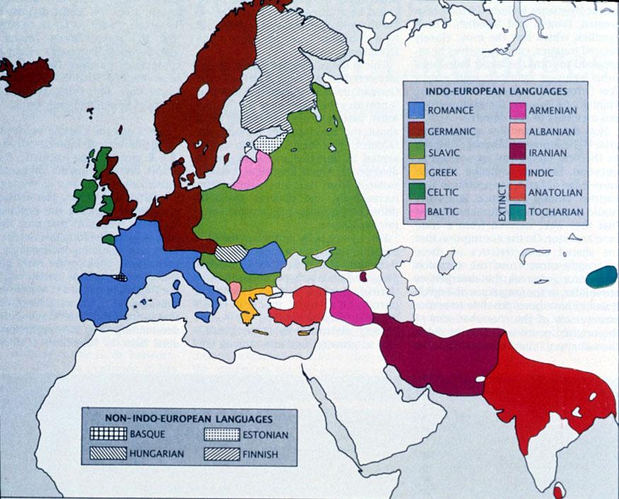 Map Europe India Indo European Language Groups John De Nugent