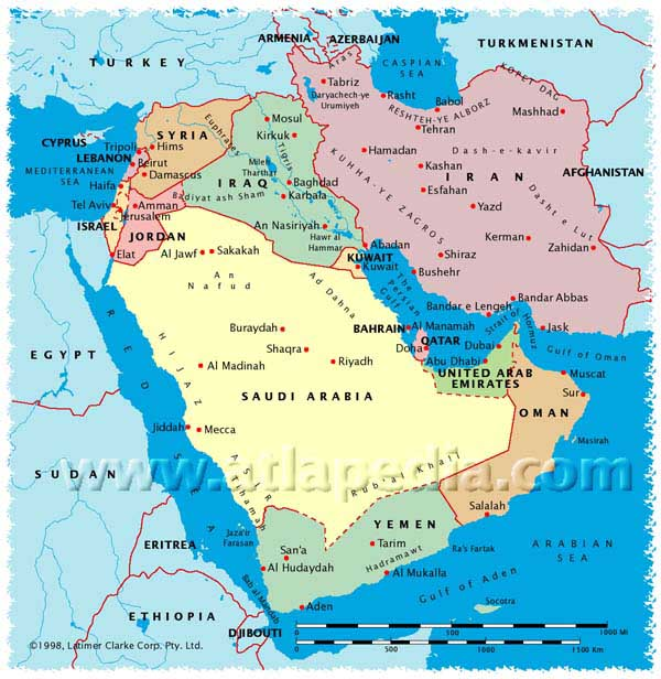 Tehran Middle East Map.Middle East Map John De Nugent